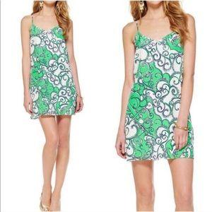 Lily Pulitzer Dusk Green & White Print Silk Dress